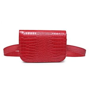 Cherry Red Faux Leather Gator Skin Belted …